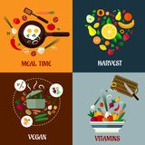 Colorful flat food poster designs Royalty Free Stock Images