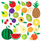 Colorful flat fruits and berries icons set. Stock Images