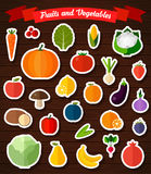 Colorful flat fruits and vegetables stickers set. Stock Images