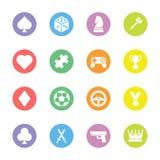 Colorful flat game icon set on circle Stock Photos
