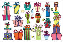 Colorful flat gift boxes.Doodle set Stock Image