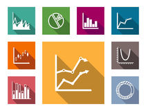 Colorful flat graphs and charts Royalty Free Stock Image