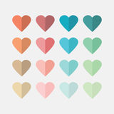 Colorful flat hearts icons set on off white background Stock Images