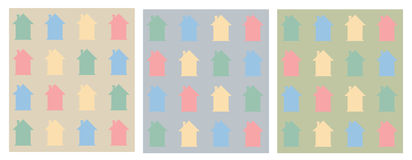 Colorful flat houses pattern. Royalty Free Stock Photos