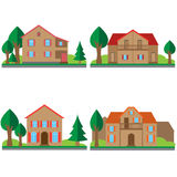 Colorful flat houses set Royalty Free Stock Image
