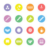 Colorful flat business and office icon set on circle. For web design, user interface (UI), infographic and mobile application (apps Royalty Free Stock Images