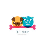 Colorful flat illustration of dog, cat and bone. Vector logo, icon, label design template. Royalty Free Stock Photography
