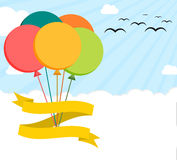 Colorful flat illustration poster with helium balloons on sky. Blank ribbon and enought copyspace Stock Photography