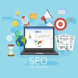 Colorful flat illustration web analytics design , SEO optimizati. On. Search Engine Optimization. Laptop with Graph,Magnifying Glass, target, gears and other Stock Photos