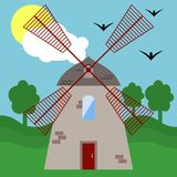 Illustration with a windmill. Stock Photos