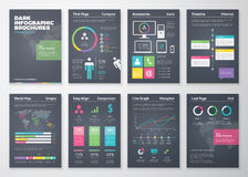 Colorful flat infographic templates on black background Stock Photo