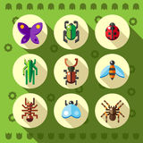 Colorful flat insect bug icons Stock Photos
