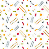 Colorful Flat Railroad Seamless Pattern stock illustration