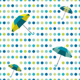 Colorful flat repeat wall paper polka dot design. Dancing umbrellas Royalty Free Stock Photos
