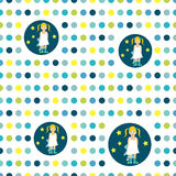 Colorful flat repeat wall paper polka dot. Girl good night idea Stock Images