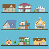Colorful Flat Residential Houses Royalty Free Stock Photo