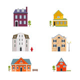 Colorful Flat Residential Houses. Flat House Icons and Symbols set. Royalty Free Stock Image