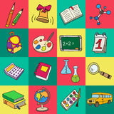 Colorful flat school icons. Vector collection. Back to school Royalty Free Stock Image
