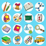 Colorful flat school icons. Vector collection. Back to school Stock Image