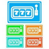 Colorful, flat slot machine icon white silhouette. Five color variations stock illustration