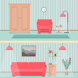 Colorful flat style livingroom interior illustration with wardrobe, sofa, carpet, flowers and lamp. stock illustration