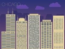 Colorful flat style panorama of the metropolis Royalty Free Stock Photo