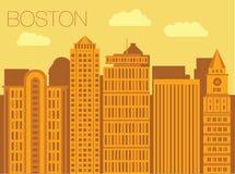 Colorful flat style panorama of the metropolis Stock Photos