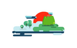 Colorful flat summer nature landscape illustration. Vector illustration in trendy flat style. Landscape, nature, lake, trees Royalty Free Stock Photo