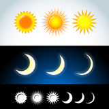 Colorful and flat Sun and moon icons. Sign sun and moon. Vector logo for web design, mobile and infographics. Stock Photos