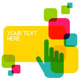 Colorful flat touch interface background template. Hand pointer Stock Photography