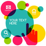 Colorful flat touch interface background template. Hand pointer Stock Images