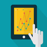 Colorful flat touch interface with graph background. Hand using Stock Photos