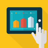 Colorful flat touch interface with graph background. Hand using Royalty Free Stock Photos