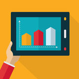 Colorful flat touch interface with graph background. Hand using Royalty Free Stock Image