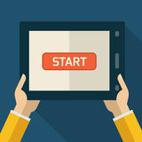 Colorful flat touch interface with start button. Hand using and Royalty Free Stock Photo