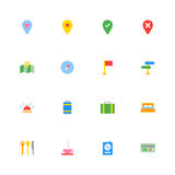 Colorful flat travel icon set. For web design, user interface (UI), infographic and mobile application (apps Stock Photo