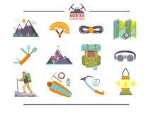 Colorful flat vector icons set . Quality design stock illustration