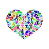 Colorful flat vector low poly heart icon isolated, stylish graph vector illustration