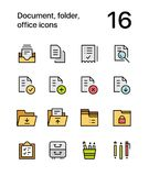 Colored Document, folder, office icons for web and mobile design pack 1. Colorful flat vector outline icons Stock Image