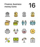Colored Finance, business, money icons for web and mobile design pack 3 Stock Image