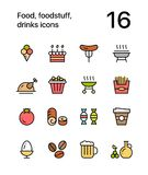 Colored Food, foodstuff, drinks icons for web and mobile design pack 4. Colorful flat vector outline icons Stock Images
