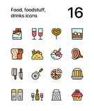 Colored Food, foodstuff, drinks icons for web and mobile design pack 3. Colorful flat vector outline icons Royalty Free Stock Photos