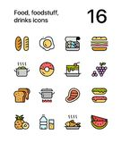 Colored Food, foodstuff, drinks icons for web and mobile design pack 1. Colorful flat vector outline icons Royalty Free Stock Images