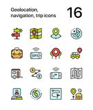 Colored Geolocation, navigation, trip icons for web and mobile design pack 2 Stock Photos