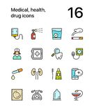 Colored Medical, health, drug icons for web and mobile design pack 3 Royalty Free Stock Photography