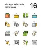 Colored Money, credit cards, coins icons for web and mobile design pack 2 Royalty Free Stock Images