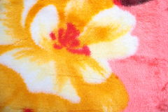Colorful Fleece Blanket. Blanket of bright floral patterns Royalty Free Stock Photography