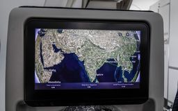 Colorful flight map on screen of LCD monitor royalty free stock photos