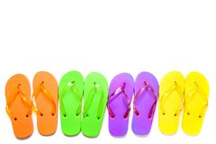 Colorful flip flop sandals isolated on white background. Top view stock photography