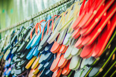 Colorful flip flop sandals in store at Khao San Road night marke Stock Photography